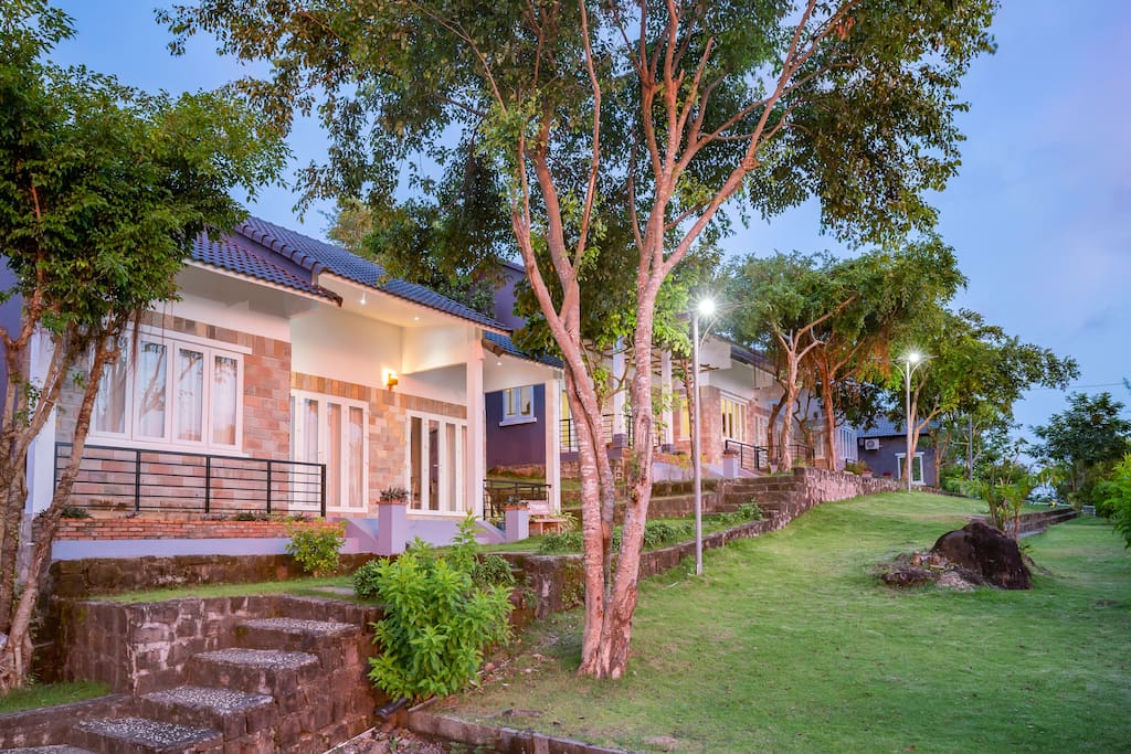 Beautiful hilltop bungalows are peaceful and private