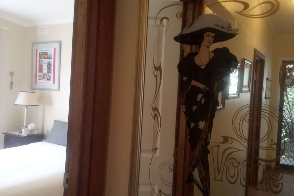 Mirror outside guests' bedroom