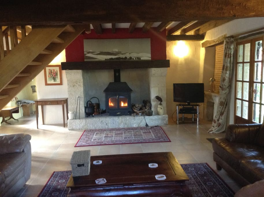 Lounge area with log burner