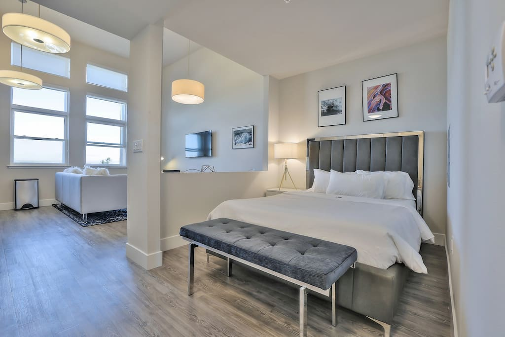 Bedroom Area is partially enclosed and has a queen bed + large closet + extra queen air-bed for 2 guests if needed!