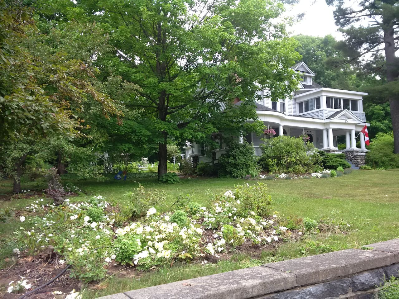 Mrs. T.'s B. and B. sits on a half acre. Distinctive historical home in Parry Sound.