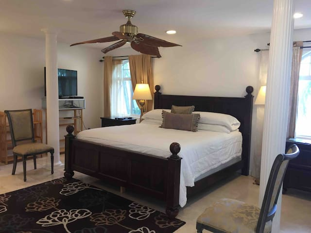 Large (459 sq ft) marble floored room. King sized bed