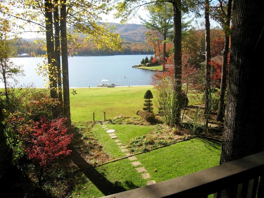 View from lake house deck in fall