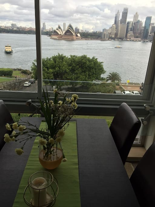 Amazing views from lounge to Opera House and Bridge, Ferry stop right out the front