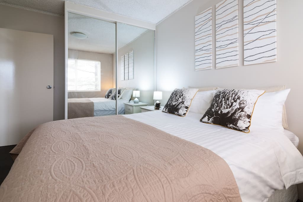 Master bedroom with mirrored robes