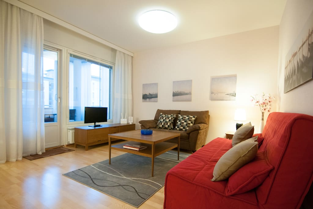 Living room with sofa bed (red) for two person