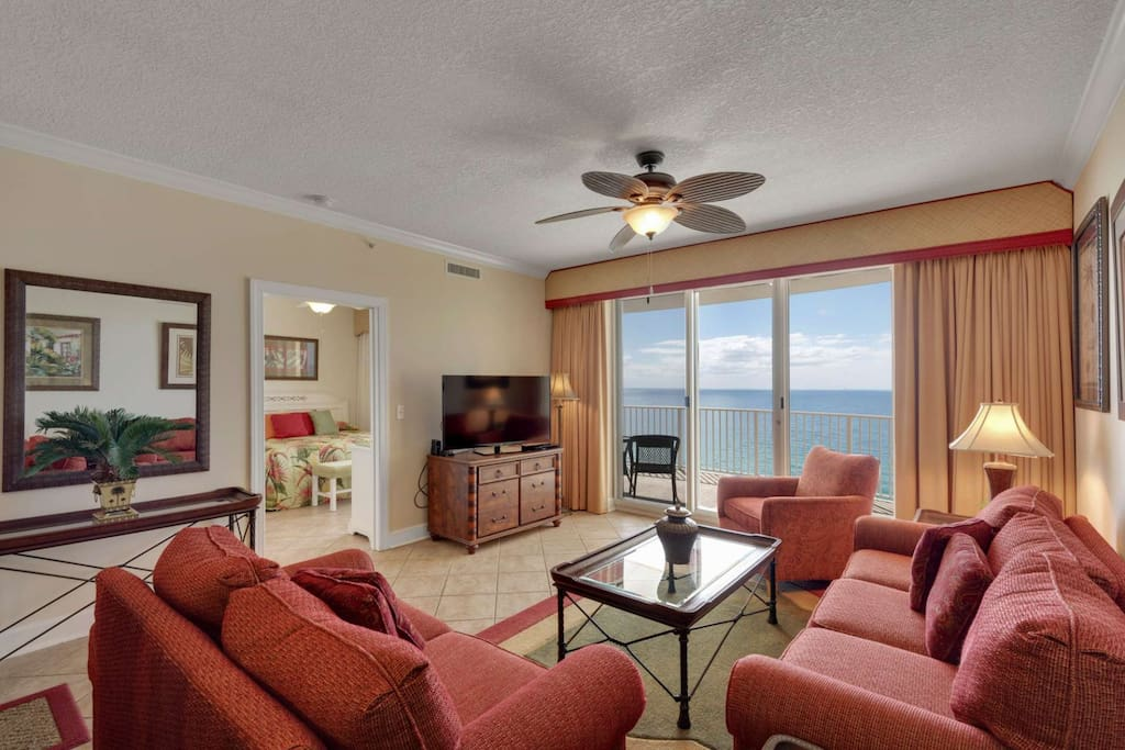 Spacious living room with a pull out sleeper sofa and beautiful Gulf View