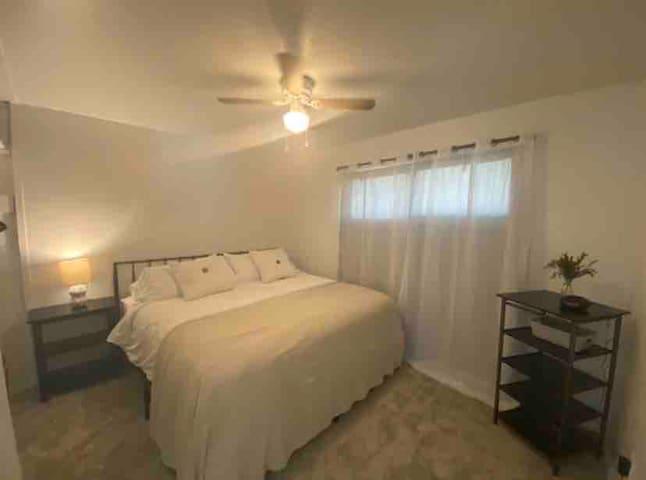 Bedroom#1. King sized plush Stearns & Foster Mattress