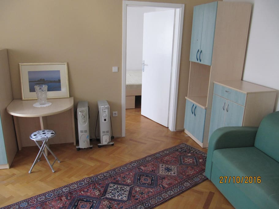 In the living room is a pull-out sofa (big enough to accomodate 2 persons).
