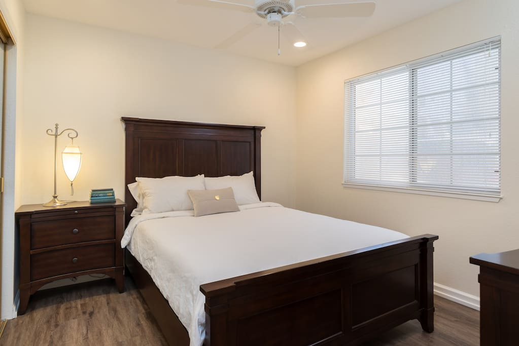 Bedroom is also light-filled and has a comfortable queen-sized bed