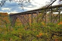 the New River Gorge bridge, just over an hour away with river rafting, hiking and Bridge Day in October