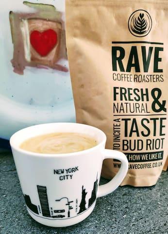 Locally roasted fresh coffee at breakfast.