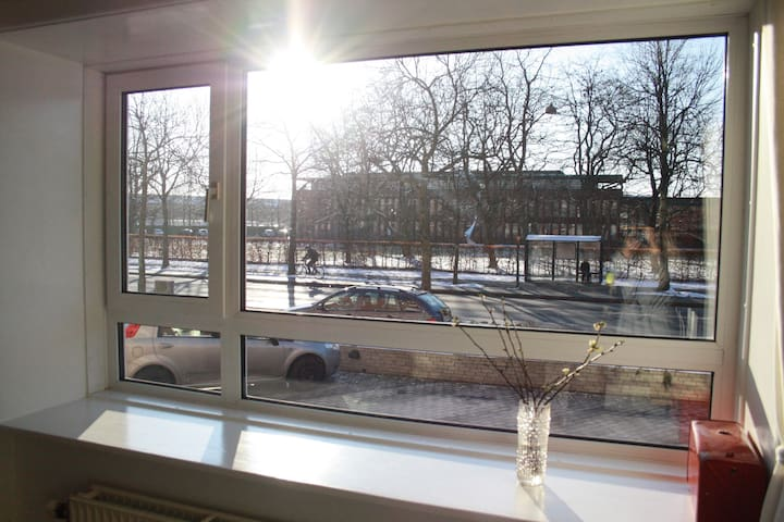 The apartment has nice big windows, that allows a lot of light to enter.