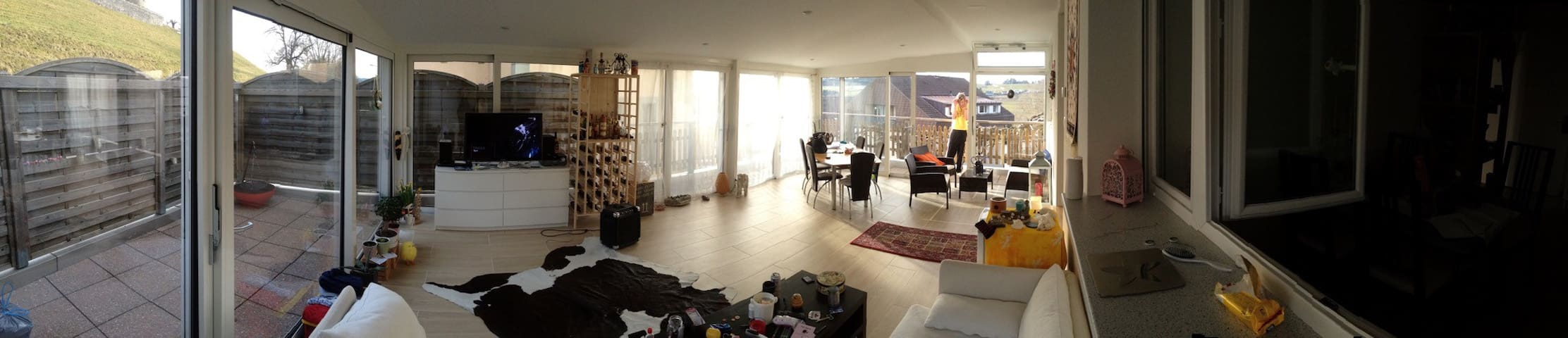 1BR in large panoramic appartment with terrace - Romont - Appartement
