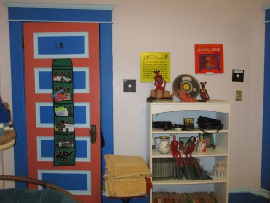 A collection of brochures,maps and information booklets is located on the closet door as you can see in this picture.