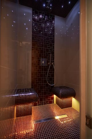 Steam room with shower. What can a steam room do for you? The steam is one of the best way of enjoying some relaxation, cleanse your skin and remove toxins.