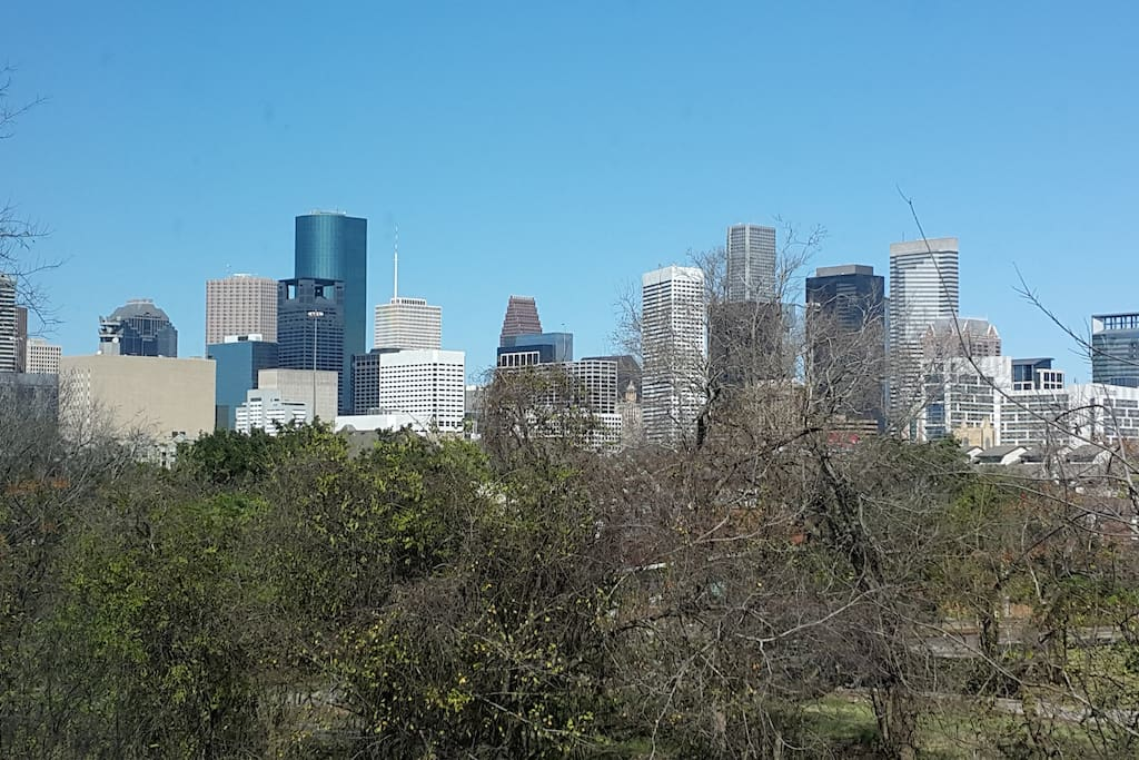 The view of Downtown Houston from patio.