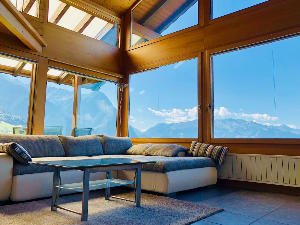 Wohnzimmer mit wunderbarem Ausblick