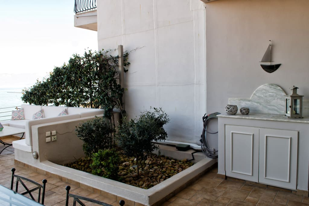 Small garden at the terrace with 3 olive trees the landmark of the house