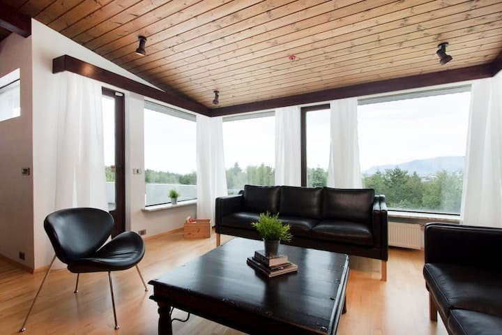 Large house w/sauna, pool table and stunning view