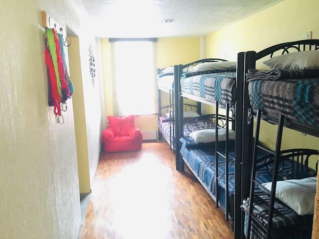 Lunia Hostal: Cocineta, sala, terraza y desayuno.