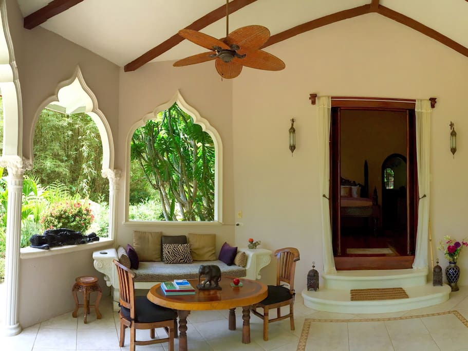 Your outdoor living space is immersed in nature and is a tranquil spot to enjoy morning coffee while listening to the sounds of Howler Monkeys and Toucans, and to relax in the evenings to the surf's far off gentle rhythms.