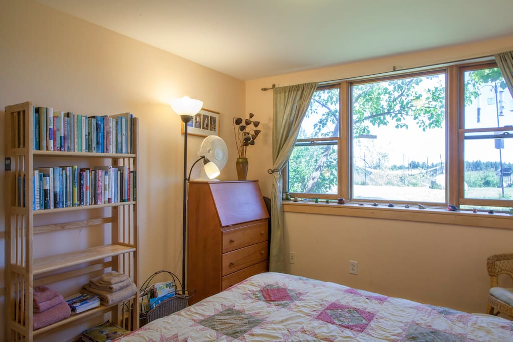 Large south-facing windows bring in lots of light, making this room bright. A reading chair next to the windows is the ideal place to look through all of our resources.