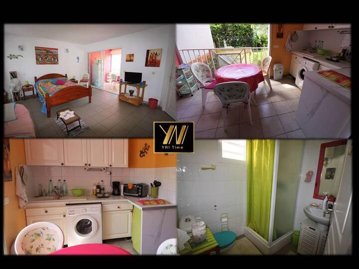 Studio Centre St François Meublé 32m² Rez Jardin