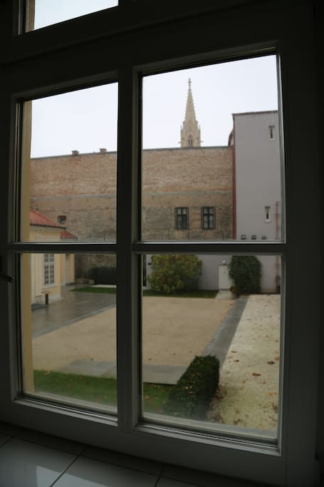 View from kitchen to inner courtyard of University library