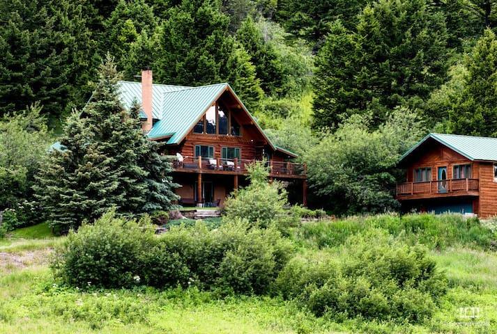 Custom Log Home on 45 Acres ~ Hot Tub & Creek~