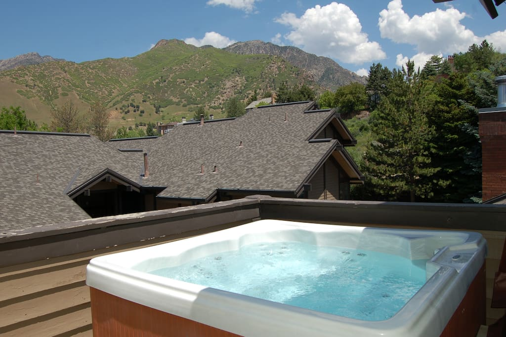 Relax in the hot tub after a fun day on the mountain.