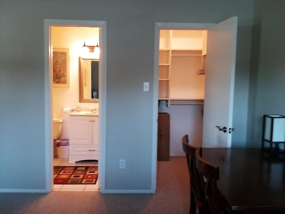 Private bathroom and a large closet