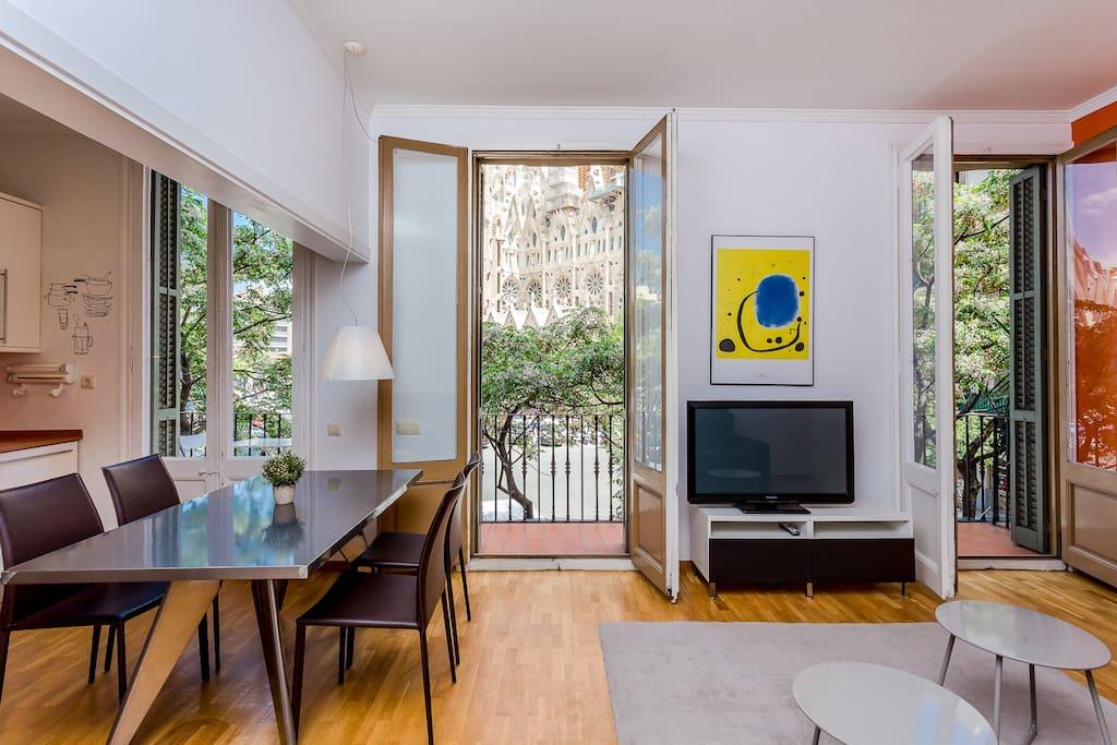 Living room with views at Sagrada Familia