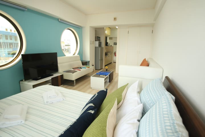 Nago★NearBeach1BR#3★Free Parking/WiFi/Kid★Aquarium