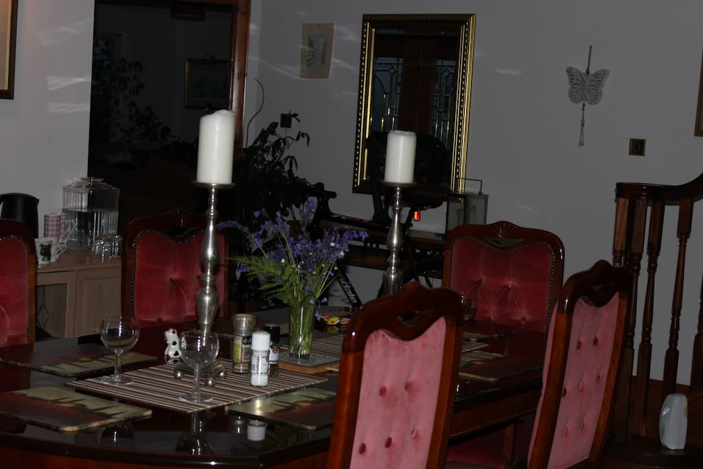 Our dinning room, where you can help yourself to tea, coffee, juice, fresh fruit, & toast etc.
