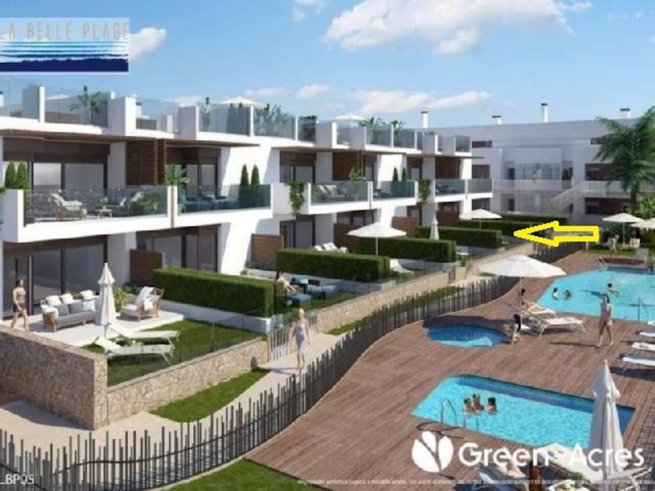 Communal pool and garden. There are 3 pools: large pool, toddlers' pool and Jacuzzi tub.
