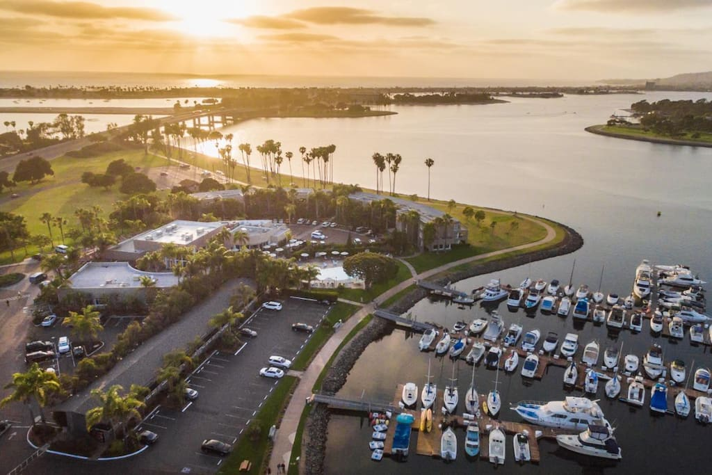 Beautiful Sunset Views right outside your patio of Mission Bay