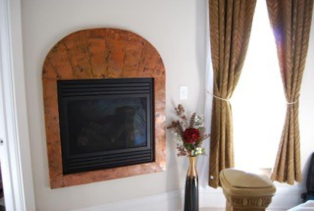 Suite 1 fireplace.