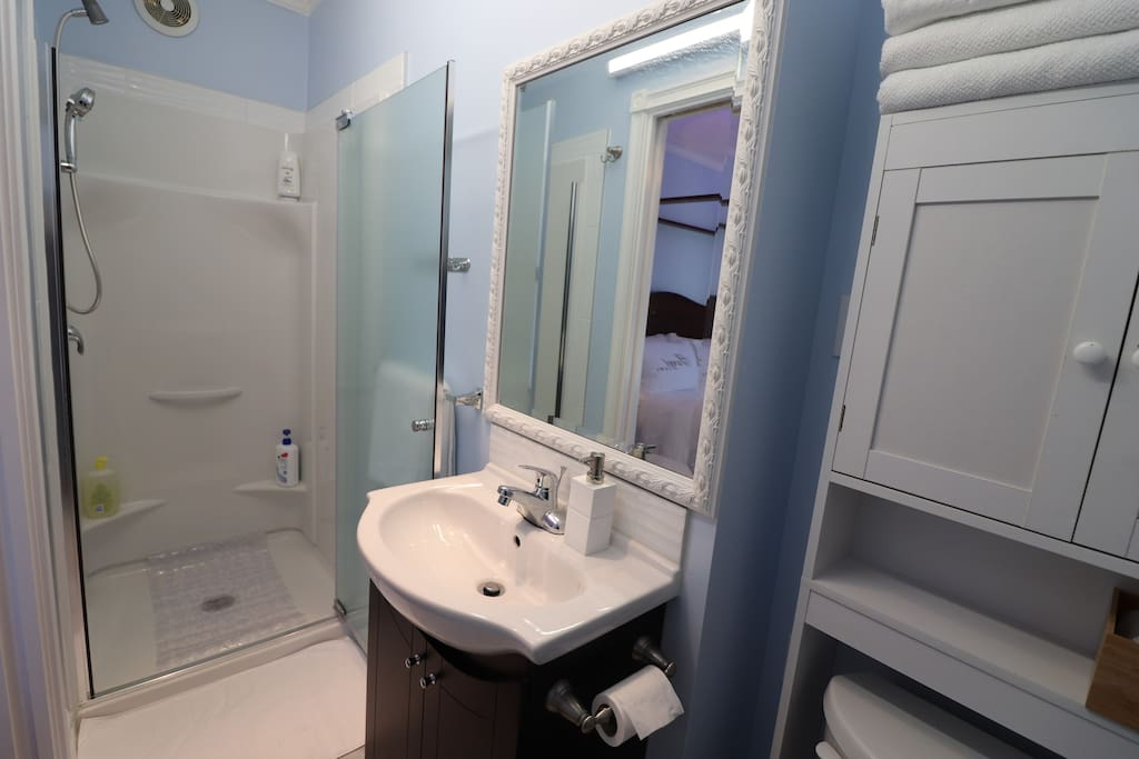 The adjoining bathroom is somewhat small but we are providing luxurious bath and skin products.