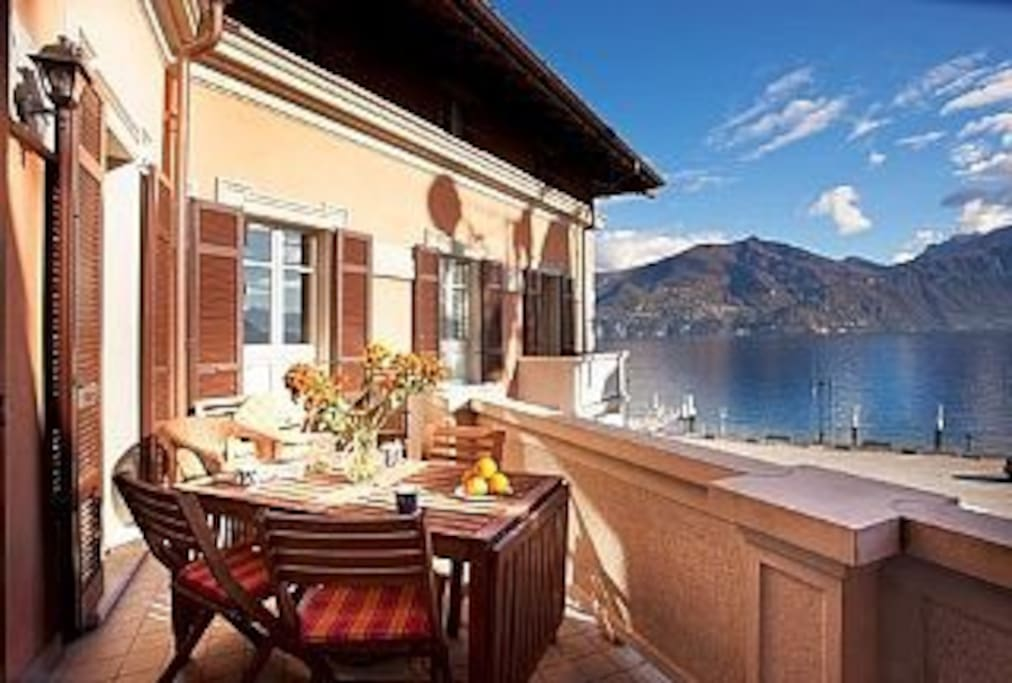 Breakfast on the balcony with the lake and mountain back drop.