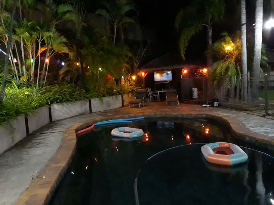 Relax & watch TV or go for a swim in the pool in the outdoor area