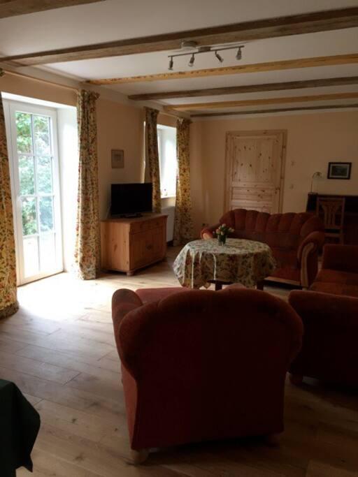 großes Wohnzimmer mit Terrassentür