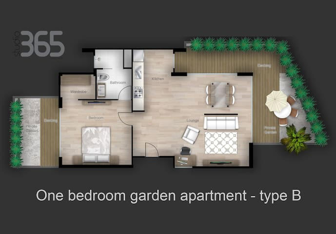 Studio365 One bedroom garden apartment type B