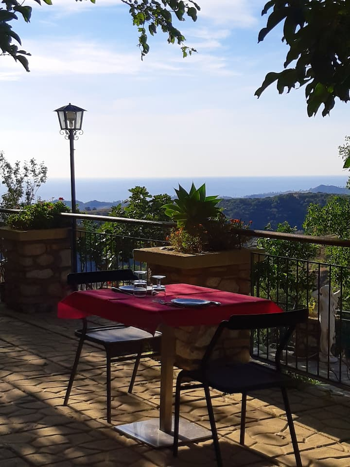 Studio in Badolato, with wonderful sea view, shared pool, furnished terrace