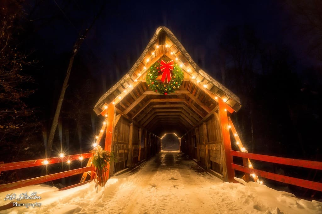 Our covered bridge at night