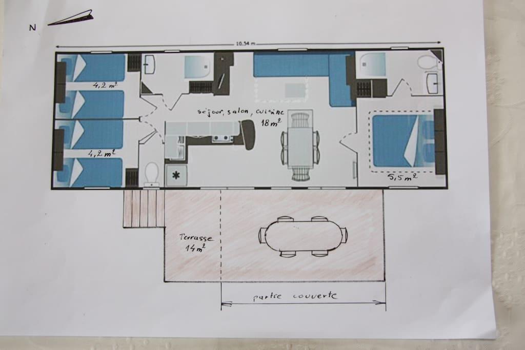 Plan du mobil-home et de la terrasse