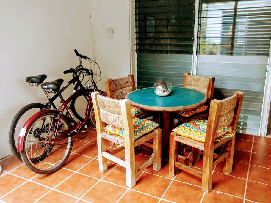 Front patio area for lounging or planning the day's adventures, with your two complimentary bicycles.