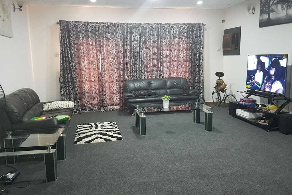 """Huge living area with 52"""" flat screen TV"""