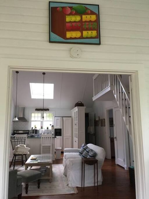 View from sunroom into house