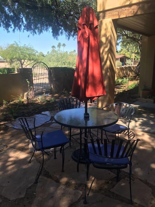 Courtyard seating.
